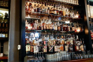 Just a portion of the massive whiskey selection at Chicago's Longman & Eagle