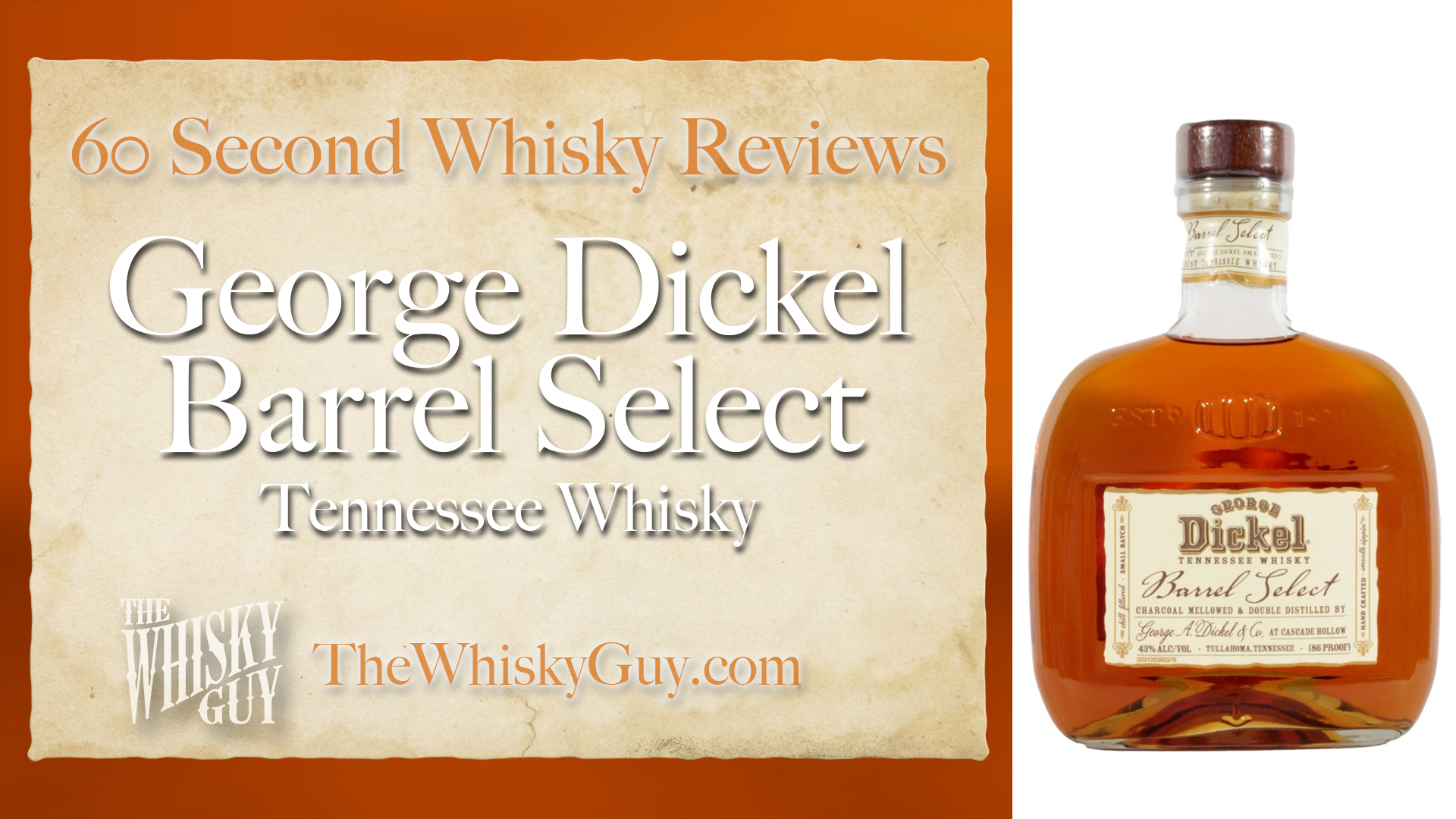 Does George Dickel Barrel Select Tennessee Whisky belong in your liquor cabinet? Is it worth the price at the bar? Give The Whisky Guy 60 seconds and find out! In just 60 seconds, The Whisky Guy reviews Irish Whiskey, Scotch Whisky, Single Malt, Canadian Whisky, Bourbon Whiskey, Japanese Whisky and other whiskies from around the world. Find more at TheWhiskyGuy.com. All original content © Ari Shapiro - TheWhiskyGuy.com
