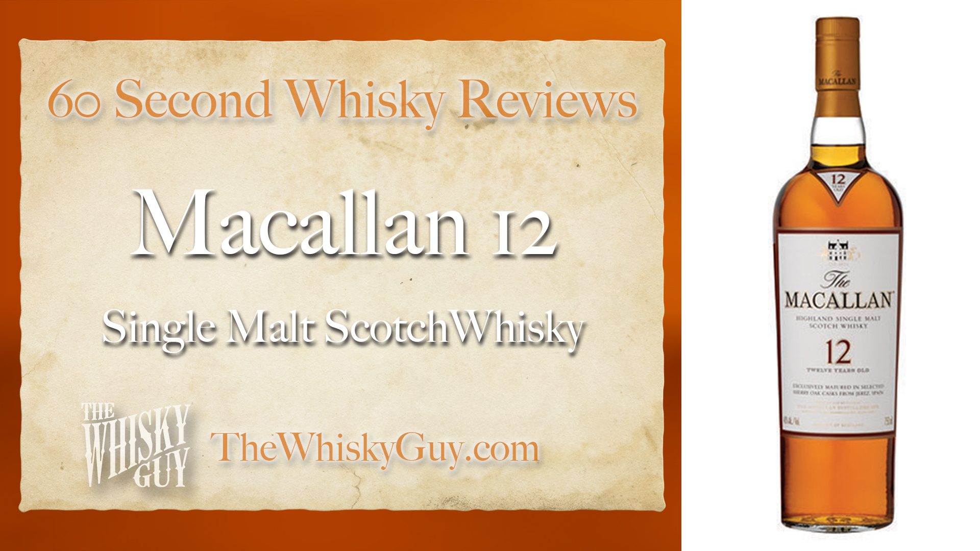 Does Macallan 12 Single Malt Scotch Whisky belong in your liquor cabinet? Is it worth the price at the bar? Give The Whisky Guy 60 seconds and find out! In just 60 seconds, The Whisky Guy reviews Irish Whiskey, Scotch Whisky, Single Malt, Canadian Whisky, Bourbon Whiskey, Japanese Whisky and other whiskies from around the world. Find more at TheWhiskyGuy.com. All original content © Ari Shapiro - TheWhiskyGuy.com