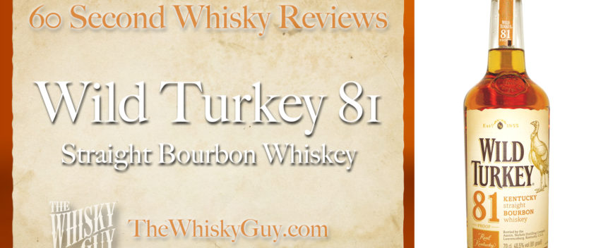 Does Wild Turkey 81 Straight Bourbon Whiskey belong in your liquor cabinet? Is it worth the price at the bar? Give The Whisky Guy 60 seconds and find out! In just 60 seconds, The Whisky Guy reviews Irish Whiskey, Scotch Whisky, Single Malt, Canadian Whisky, Bourbon Whiskey, Japanese Whisky and other whiskies from around the world. Find more at TheWhiskyGuy.com. All original content © Ari Shapiro - TheWhiskyGuy.com