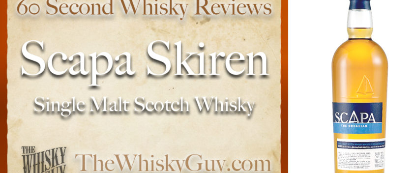 Does Scapa Skiren Single Malt Scotch Whisky belong in your liquor cabinet? Is it worth the price at the bar? Give The Whisky Guy 60 seconds and find out! In just 60 seconds, The Whisky Guy reviews Irish Whiskey, Scotch Whisky, Single Malt, Canadian Whisky, Bourbon Whiskey, Japanese Whisky and other whiskies from around the world. Find more at TheWhiskyGuy.com. All original content © Ari Shapiro - TheWhiskyGuy.com