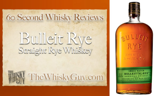 Does Bulleit Straight Rye Whiskey belong in your liquor cabinet?  Is it worth the price at the bar? Give The Whisky Guy 60 seconds and find out!  In just 60 seconds, The Whisky Guy reviews Irish Whiskey, Scotch Whisky, Single Malt, Canadian Whisky, Bourbon Whiskey, Japanese Whisky and other whiskies from around the world. Find more at TheWhiskyGuy.com.  All original content © Ari Shapiro - TheWhiskyGuy.com