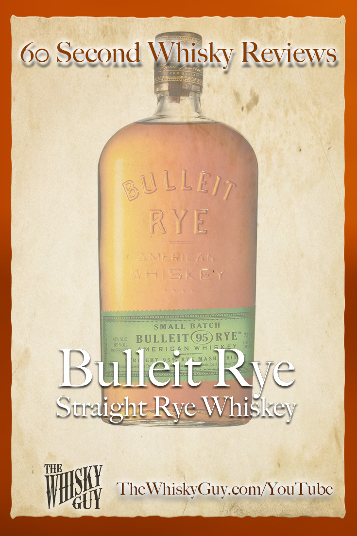 Should you spend your money on Bulleit Straight Rye Whiskey? Find out in 60 Seconds in Whisky Review #076 from TheWhiskyGuy! Watch and Subscribe at TheWhiskyGuy.com/YouTube