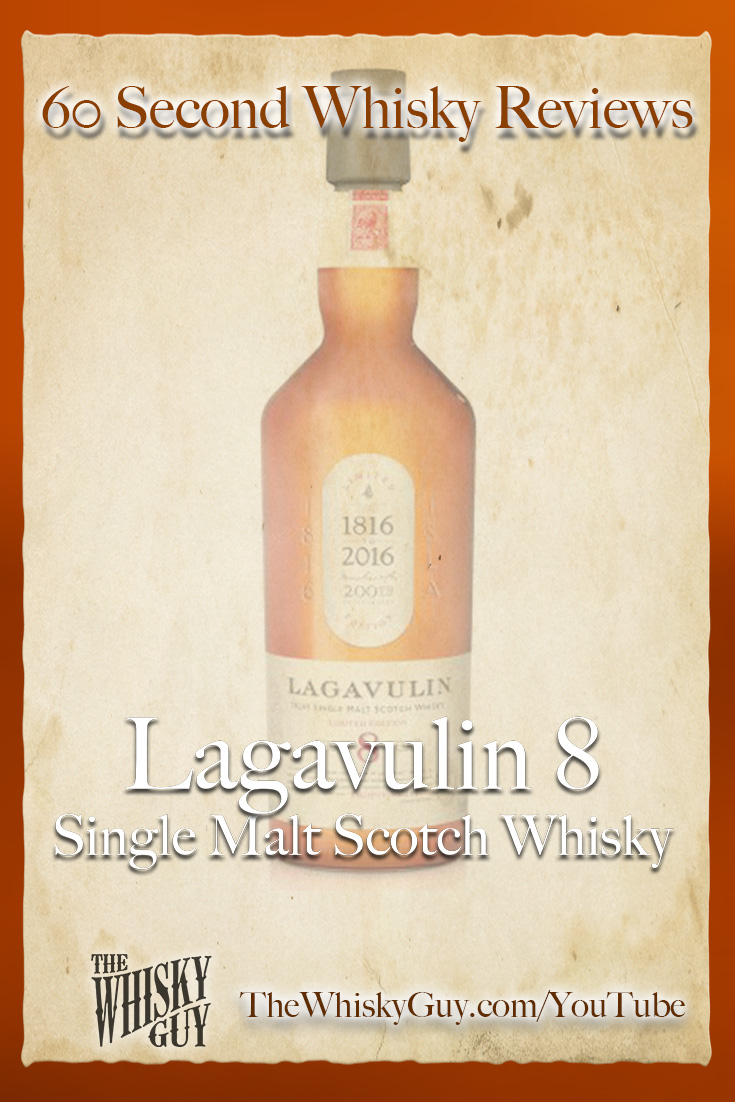 Should you spend your money on Lagavulin 8 Single Malt Scotch Whisky? Find out in 60 Seconds in Whisky Review #078 from TheWhiskyGuy! Watch and Subscribe at TheWhiskyGuy.com/YouTube