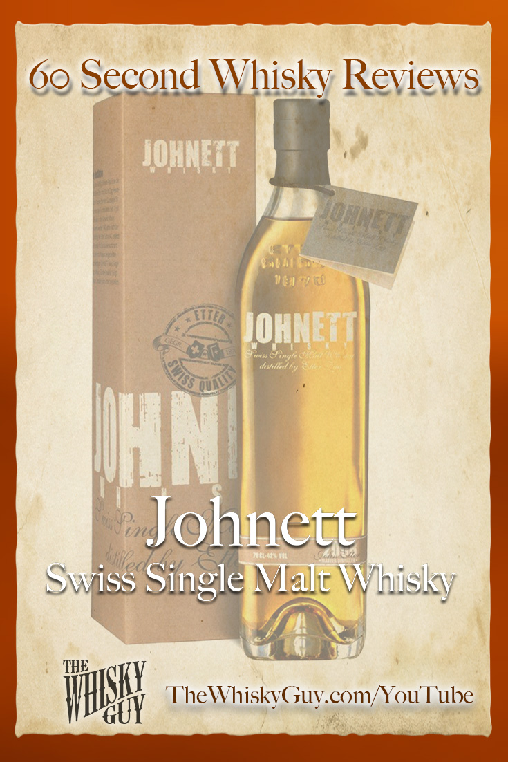 Should you spend your money on Johnett Swiss Single Malt Whisky? Find out in 60 Seconds in Whisky Review #079 from TheWhiskyGuy! Watch and Subscribe at TheWhiskyGuy.com/YouTube