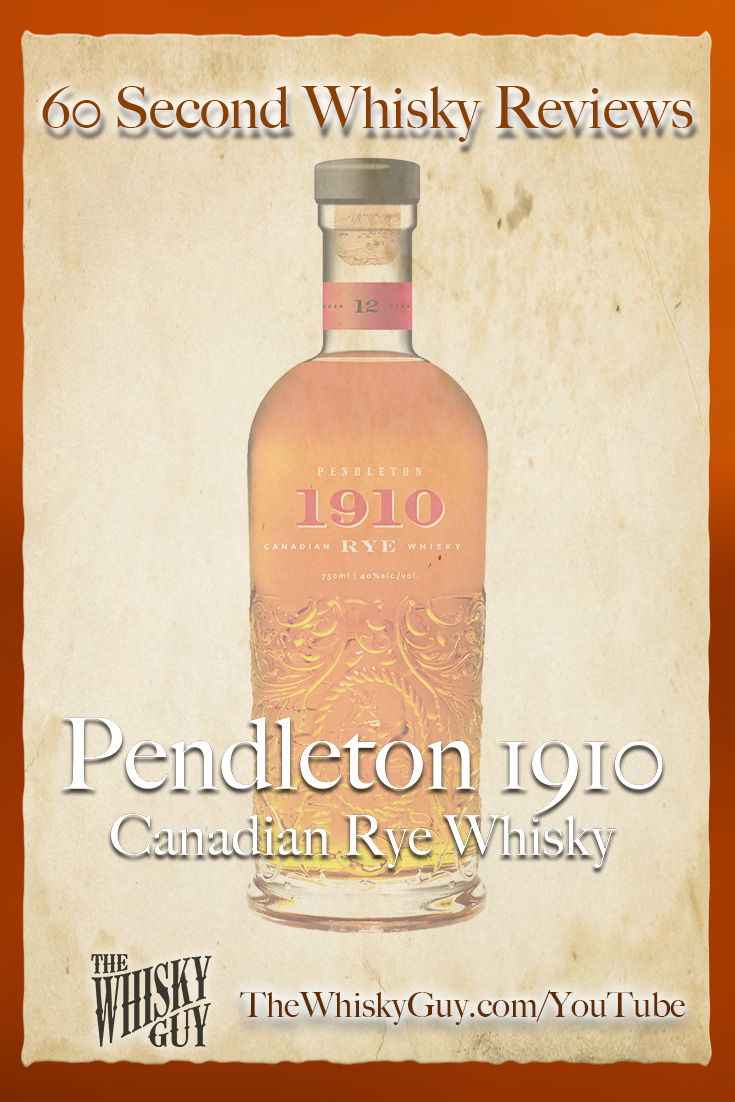 Should you spend your money on Pendleton 1910 Canadian Rye Whisky? Find out in 60 Seconds in Whisky Review #081 from TheWhiskyGuy! Watch and Subscribe at TheWhiskyGuy.com/YouTube