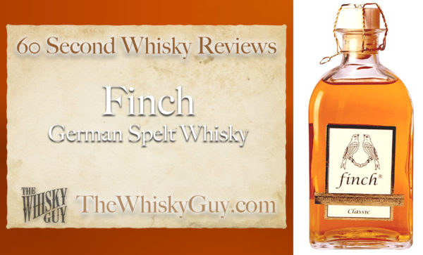Does Finch German Spelt Whisky belong in your liquor cabinet?  Is it worth the price at the bar? Give The Whisky Guy 60 seconds and find out!  In just 60 seconds, The Whisky Guy reviews Irish Whiskey, Scotch Whisky, Single Malt, Canadian Whisky, Bourbon Whiskey, Japanese Whisky and other whiskies from around the world. Find more at TheWhiskyGuy.com.  All original content © Ari Shapiro - TheWhiskyGuy.com