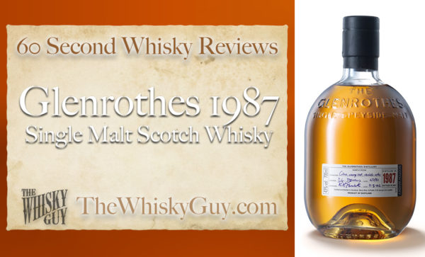 Does Glenrothes 1987 Single Malt Scotch Whisky belong in your liquor cabinet? Is it worth the price at the bar? Give The Whisky Guy 60 seconds and find out! In just 60 seconds, The Whisky Guy reviews Irish Whiskey, Scotch Whisky, Single Malt, Canadian Whisky, Bourbon Whiskey, Japanese Whisky and other whiskies from around the world. Find more at TheWhiskyGuy.com. All original content © Ari Shapiro - TheWhiskyGuy.com