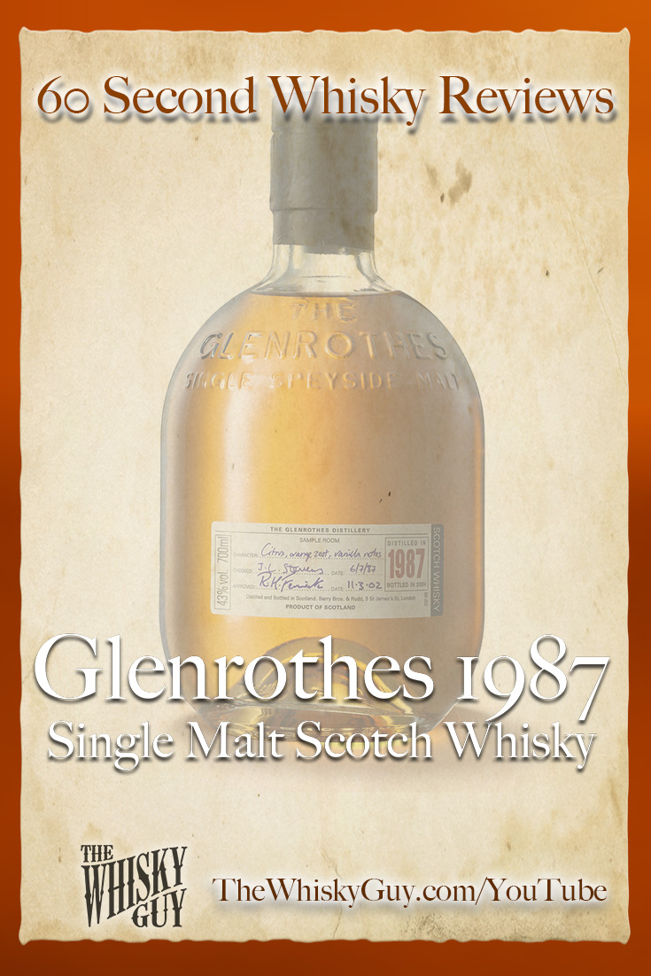 Should you spend your money on Glenrothes 1987 Single Malt Scotch Whisky? Find out in 60 Seconds in Whisky Review #088 from TheWhiskyGuy! Watch and Subscribe at TheWhiskyGuy.com/YouTube
