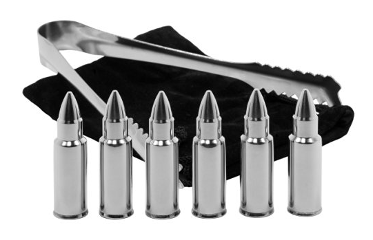 Chill that beverage with these bullet shaped whiskey stones! Made from 304 stainless steel, these chillers won't rust or corrode and hold a cold temperature incredibly well. These complete set includes 6 bullet whiskey stones, tongs and a drawstring pouch to carry your kit in. TheWhiskyGuy.com/Shop