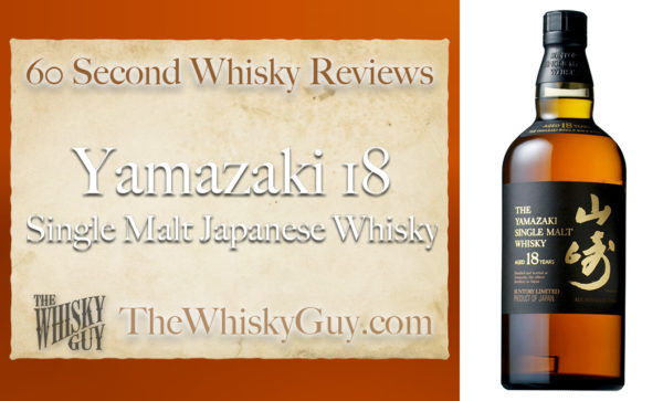 Japanese whisky is all the rage right now, and Yamazaki is leading the charge with whisky that is nearly impossible to find in stores. So? Is it worth the hype? Give me 60 seconds and find out as The Whisky Guy tastes Yamazaki 18 Single Malt Japanese Whisky in 60 Second Whisky Review #100!